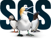 A picture of a gannet, puffin and a razorbill standing infront of a SOS sign